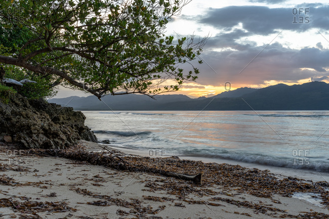 Caribbean, Greater Antilles, Dominican Republic, Samana, Las Galeras, sunset on La Playita beach in Las Galeras