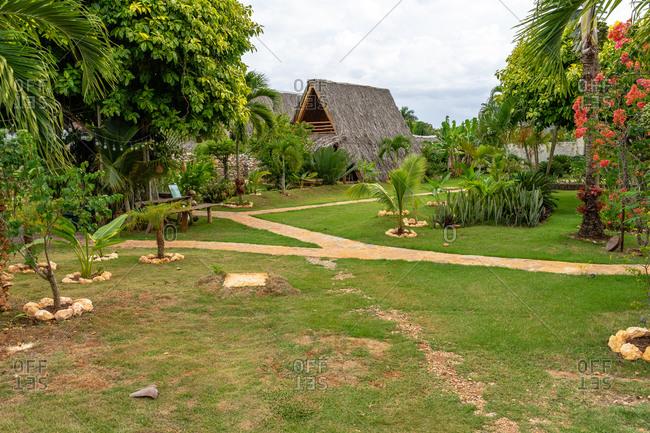 September 2, 2019: Caribbean, Greater Antilles, Dominican Republic, Samana, Las Galeras, Tropical gardens in the Eco-Lodge Chalet Tropical