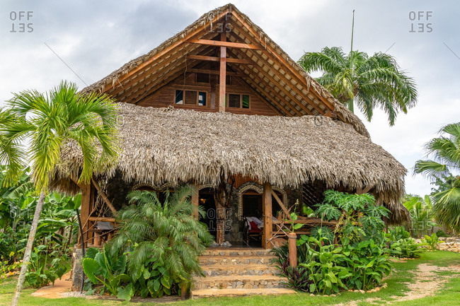 September 2, 2019: Caribbean, Greater Antilles, Dominican Republic, Samana, Las Galeras, bungalow in the eco-lodge Chalet Tropical