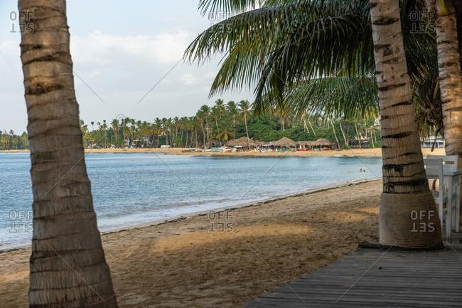 September 1, 2019: America, Caribbean, Greater Antilles, Dominican Republic, Samana, Las Terrenas, View from the One Love beach bar onto the beach of Las Terrenas