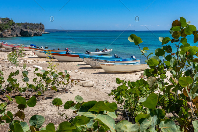 August 22, 2019: Greater Antilles, Dominican Republic, Pedernales, excursion boats on the beach of the Bahia de las Aguilas