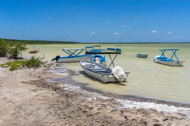 August 22, 2019: Greater Antilles, Dominican Republic, Oviedo, Laguna de Oviedo, excursion boats in the Laguna de Oviedo