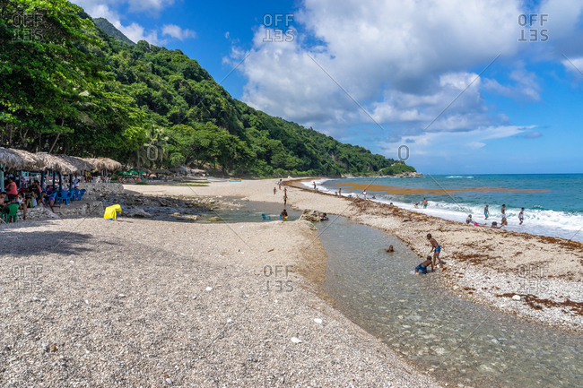 August 21, 2019: Greater Antilles, Dominican Republic, Barahona, San Rafael, beach scene at Playa San Rafael