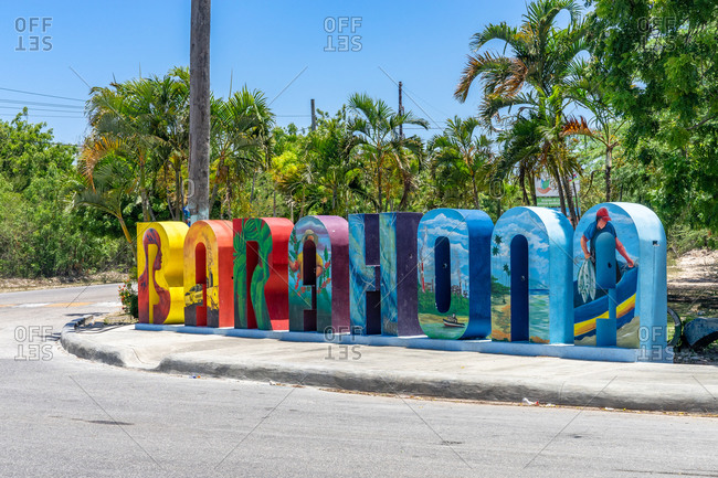 August 21, 2019: Greater Antilles, Dominican Republic, Barahona, decorative lettering at the entrance to Barahona