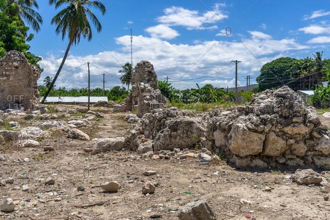 America, Caribbean, Greater Antilles, Dominican Republic, Azua, Pueblo Viejo, ruin of the Convento de las Mercedes church in Pueblo Viejo
