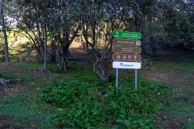 August 18, 2019: Greater Antilles, Dominican Republic, Jarabacoa, Manabao, Parque Nacional Jose Armando Bermudez, Pico Duarte, signs at the La Comparticion refuge