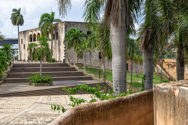 August 13, 2019: Caribbean, Greater Antilles, Dominican Republic, Santo Domingo, Colonial Zone, view of the Alcazar de Colon at the Plaza de Espana in the colonial district of Santo Domingo
