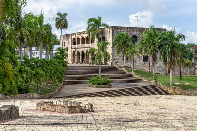 Caribbean, Greater Antilles, Dominican Republic, Santo Domingo, Zona Colonial, view of the Alcazar de Colon at the Plaza de Espana