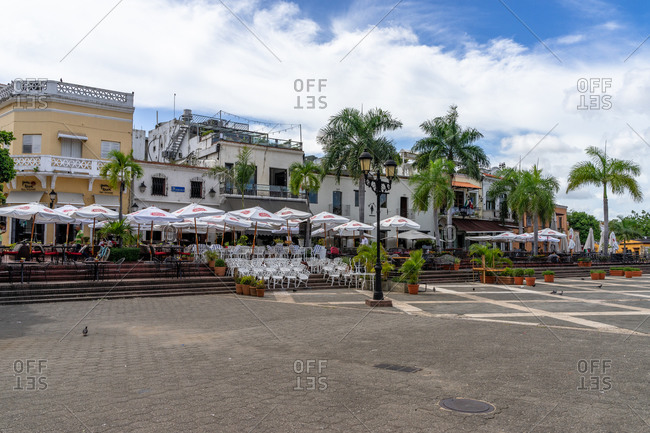 August 13, 2019: Caribbean, Greater Antilles, Dominican Republic, Santo Domingo, Colonial Zone, view of the restaurants in the Plaza de Espana