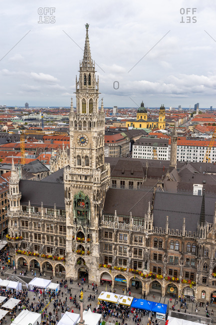 October 19, 2019: Europe, Germany, Bavaria, Munich, view from the lookout tower of the parish church of St. Peter to Marienplatz and the new town hall