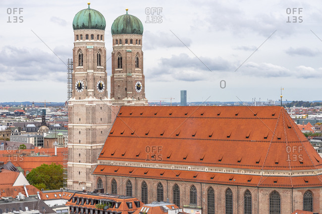 Europe, Germany, Bavaria, Munich, view from the lookout tower of the parish church of St. Peter to the Frauenkirche