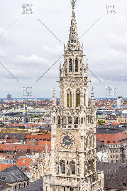 October 19, 2019: Europe, Germany, Bavaria, Munich, view from the lookout tower of the parish church of St. Peter to the tower of the new town hall on Marienplatz