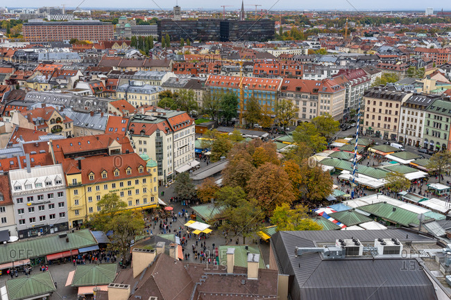 October 19, 2019: Europe, Germany, Bavaria, Munich, view from the church tower of the Peterskirche to the Viktualienmarkt