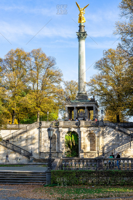 October 19, 2019: Europe, Germany, Bavaria, Munich, View of the Angel of Peace in the Maximiliansanlagen in Munich