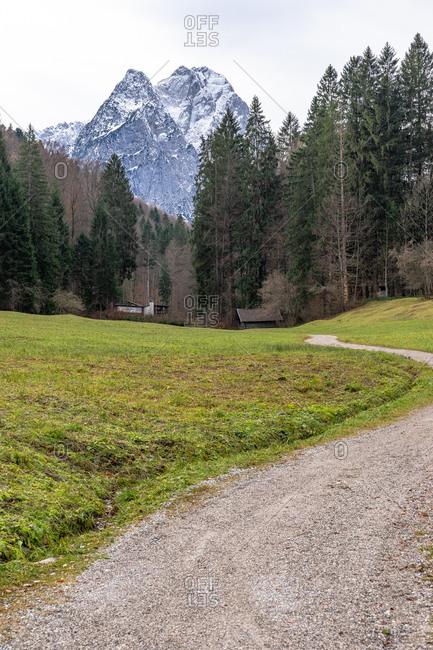 Europe, Germany, Bavaria, Bavarian Alps, Garmisch-Partenkirchen, view of the Waxensteine in the Bavarian Alps near Garmisch-Partenkirchen