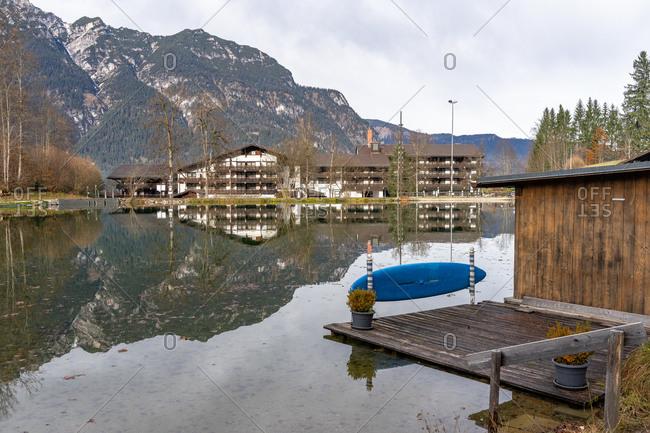 November 22, 2019: Europe, Germany, Bavaria, Bavarian Alps, Garmisch-Partenkirchen, Riessersee Hotel am Riessersee
