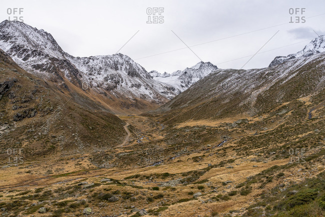Europe, Austria, Tyrol, Stubai Alps, Sellrain, St. Sigmund im Sellrain, view of the valley head of the Gleirsch valley