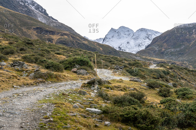 Europe, Austria, Tyrol, Stubai Alps, Sellrain, St. Sigmund im Sellrain, hiking trail through the autumnal Gleirschtal in Sellrain