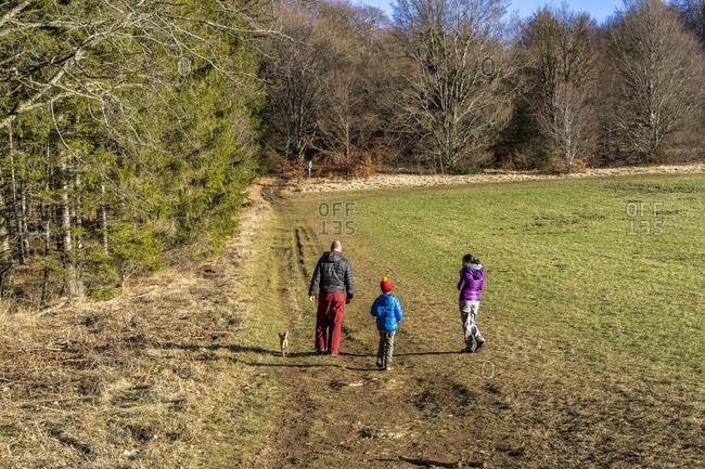 Europe, Germany, Baden-Wuerttemberg, Swabian Jura, Albstadt, family with dog on a hike on the Swabian Jura on a sunny winter day