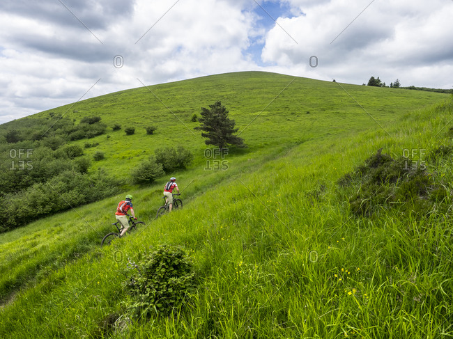 Mountain bike single trail at Puy Pariou (1209m) in the Massif Central in France