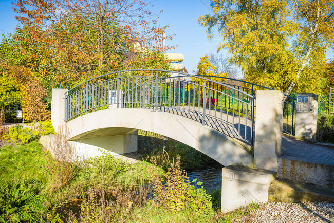 November 1, 2017: Redesigned Kurpark in Bad Durkheim, bridge with exotic plants, Germany