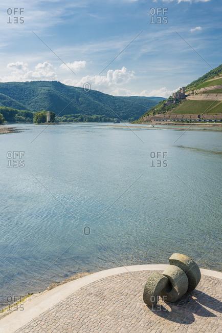 Sculpture Poseidon on Naheeck in Bingen, Rhine, Mouse Tower, Nahe, Nahemouth,
