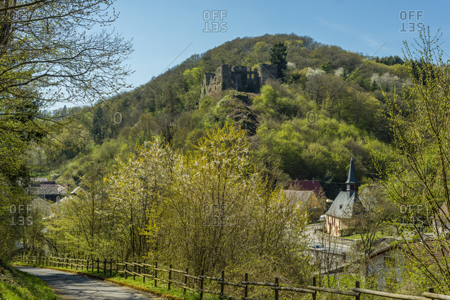 Dalburg near Dalberg in the Grafenbachtal in the Bad Kreuznach district, a spur castle with a trench stitched high-resolution panorama