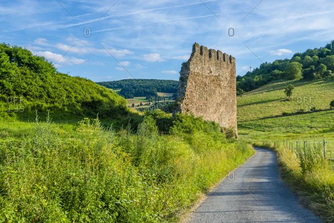 Castle ruin Lewenstein near Niedermoschel, North Palatinate highlands