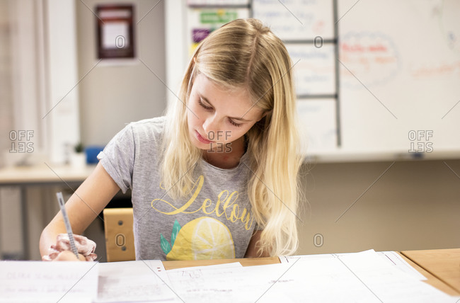 Girl sitting in a classroom