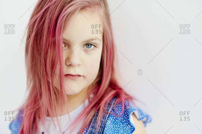 Portrait of girl with pink hair