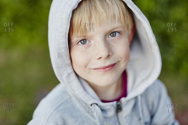 Portrait of boy wearing hoodie