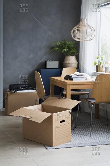 Cardboard box in dining room