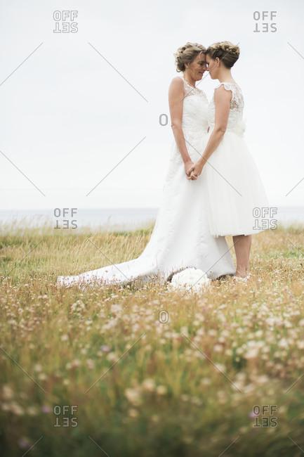 Women wearing wedding dresses outdoors