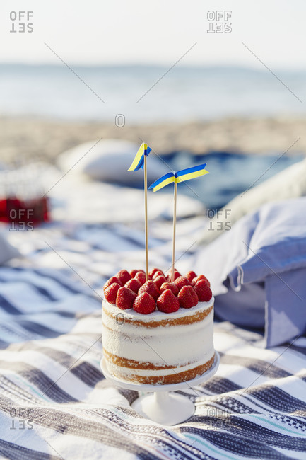 Strawberry cake on beach towels
