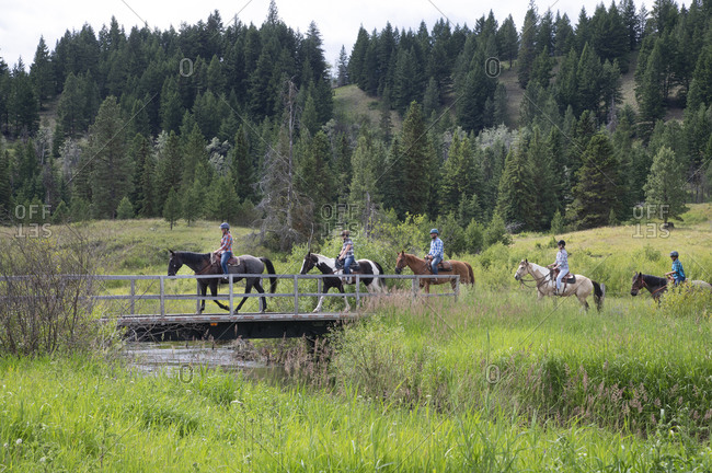 Trail riders on horses in Merritt, BC
