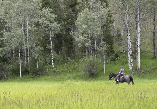 Woman riding a horse in a green field in Merritt, BC