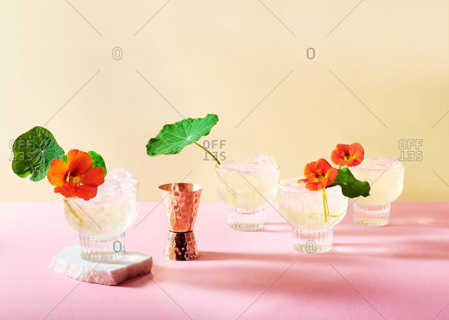 Elderflower gin cocktails with edible Nasturtium flowers served in retro glasses
