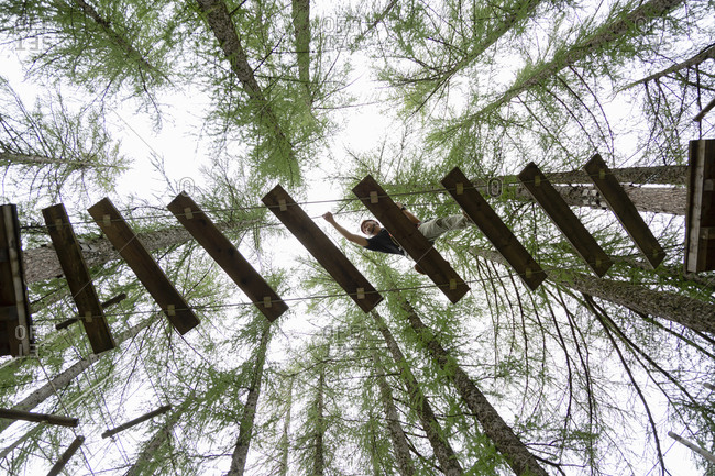 From below male walking on ropes course against coniferous trees in adventure park in Dolomites mountains in Italy