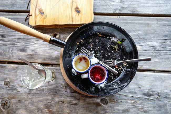 Dirty pan with cups and forks placed near empty glass on wooden table after breakfast