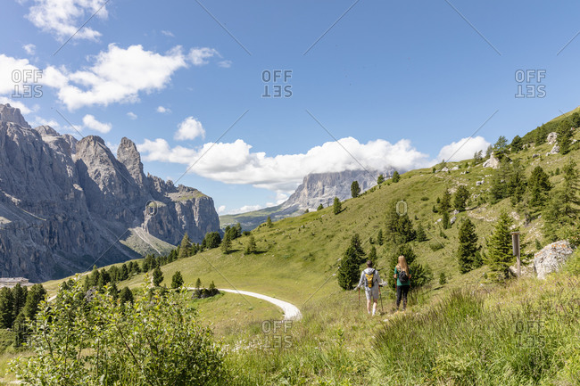 Back view of man and woman with sticks walking on grassy hill in Val Badia valley near Dolomites mountains against cloudy sky in Italy
