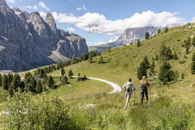 Back view of anonymous man and woman with backpacks walking with sticks on grassy hill near road in Val Badia valley near Dolomites mountains in summer in Italy