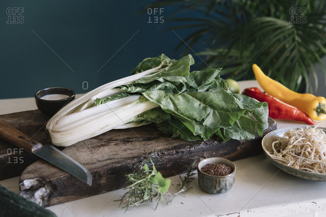 Chinese cabbage on cutting board