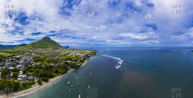 Mauritius- Black River- Tamarin- Helicopter panorama of Indian Ocean and coastal village