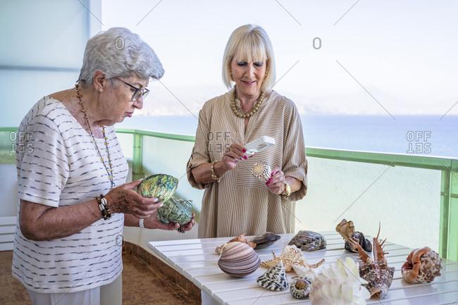Senior women examining collection of seashells on balcony