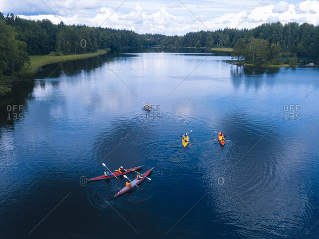 Aerial view of people kayaking inVuoksiriver