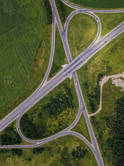 Aerial view of overpass near Torbeyevskoye lake in summer