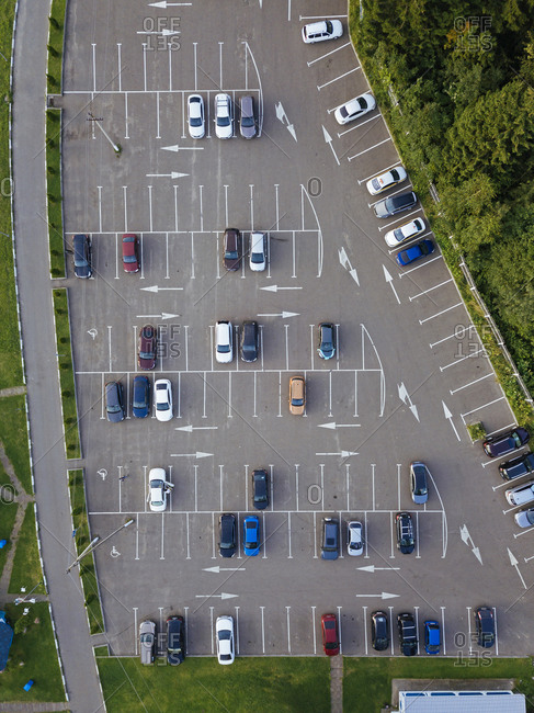 Aerial view of cars parked in outdoor parking lot
