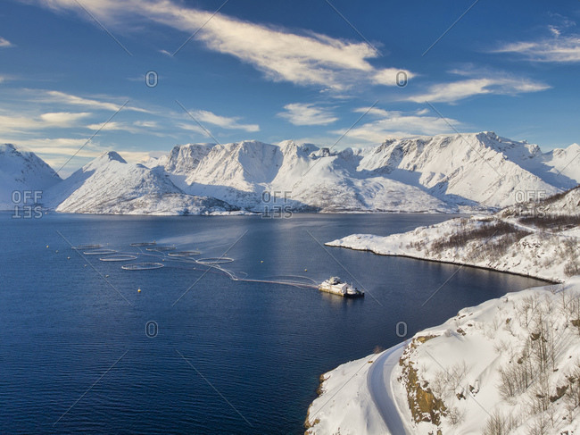 Aerial view of a fish farm in the fjords- Finnmark- Norway