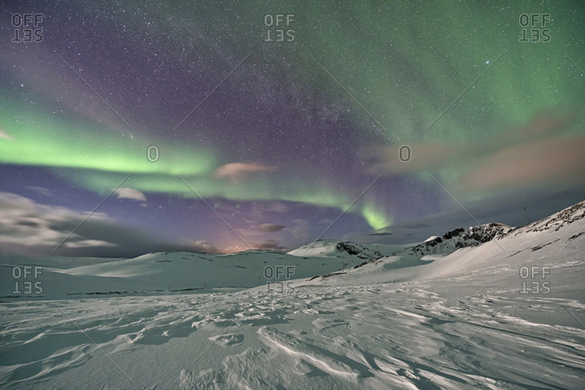 Northern lights over the mountains- Finnmark- Norway