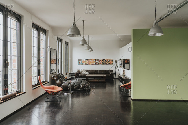 Living area in a designer loft